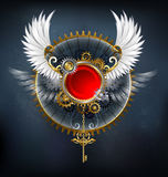 Red banner with white wings Royalty Free Stock Photography