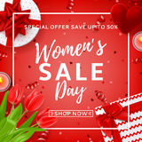 Red banner for Women`s Day sale Royalty Free Stock Photography