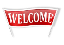 Red banner with the words welcome Royalty Free Stock Image