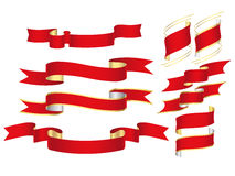 Red Banners. A lot of red ribbons is on a white background Royalty Free Stock Photo