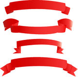 Red banners. Banners from red fabric (on white stock illustration