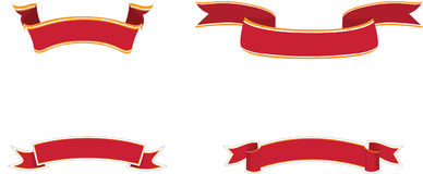 Red banners. Set of different red ribbon banners, isolated on a white background Royalty Free Stock Photo