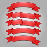 Red banners or ribbons set Royalty Free Stock Photo