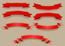 Red banners. Set of seven red banners Stock Photos