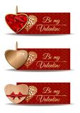 Red banners set for Valentines Day. Be my Valentine. Golden heart, wooden heart, shaped ruby heart in a gold frame. Vector illustration Stock Images