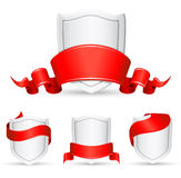 Red banners and shield Royalty Free Stock Image