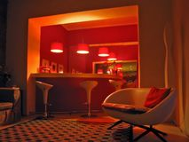 Red Bar. Small quiet hotel bar with retro styling royalty free stock photography