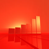 Red bar chart. An abstract bar chart rendering, red and orange light Royalty Free Stock Image