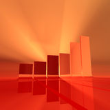 Red bar chart. Abstract bar chart rendering, red and orange light, foggy atmosphere Royalty Free Stock Photography