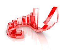 Red Bar Chart Business Growth With Rising Up Arrow. Sccess Conce. Pt 3d Render Illustration Stock Photos