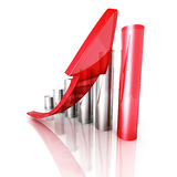 Red Bar Chart Business Growth With Rising Up Arrow Stock Photos