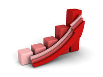 Red bar chart graph with rising up growing arrow. Success concept 3d render illustration Stock Image