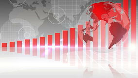 Red bar chart showing growth with globe stock video