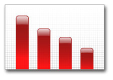 Red bar graph down Royalty Free Stock Photography