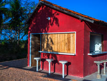 Red bar. Red summer bar cafe house on sea beach in morning - Amazonia - Salinopolis - Cuiarana - Brazil Royalty Free Stock Images