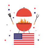 Red barbecue concept. Flat bbq party grill usa flag. Isolated Stock Photos
