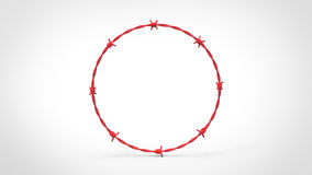Red Barbed Wire Ring. Seamless ring of red barbed wire. This image is a 3d illustration Stock Images