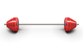 Red barbell  on white Royalty Free Stock Photography