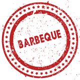 Red BARBEQUE distressed rubber stamp with grunge texture. Illustration royalty free illustration