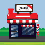 RED BARBER SHOP. VECTOR CARTOON DESIGN : RED BARBER SHOP royalty free illustration