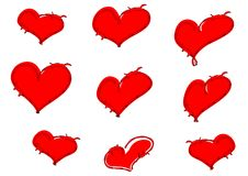 Red barbwire hearts. Red hearts with barbwire outline Stock Photography