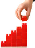 Red barchart. Hand built red barchart isolated over the white background Royalty Free Stock Photo