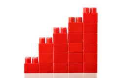 Red barchart. Isolated over the white background Royalty Free Stock Photo