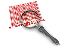Red barcode scanning. Abstract 3d illustration of barcode and magnify glass over white background Royalty Free Stock Photography