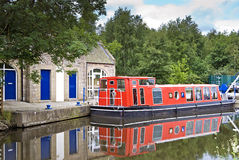 Red barge on the union canal Royalty Free Stock Photography