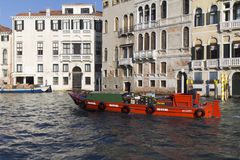 Red barge in Venice Royalty Free Stock Images