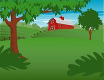 Red Barn. Illustration of a country landscape with a red barn in the background Stock Photography