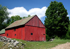 Red Barn. And Stone Wall in Vermont Royalty Free Stock Images