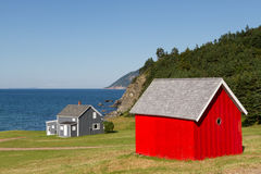 Red Barn. A red barn stands out at the edge of the ocean. Newfoundland, Canada Royalty Free Stock Photos