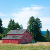 Red Barn. On Hill Stock Images