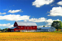 Red barn. Rural landscape with red barn in rural Ontario, Canada royalty free stock photos