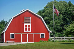 red barn with American flag Stock Photo