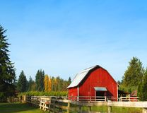 Red Barn. On wooded acre Royalty Free Stock Image