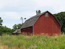 Red Barn. Farm house with red barn Royalty Free Stock Photo