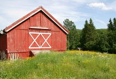 Red barn. Traditional red barn in the Norwegian countryside Royalty Free Stock Photo