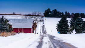 Red barn along a country road in rural Adams County, Maryland. Royalty Free Stock Photo