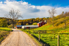 Red barn along country road in rural York County, Pennsylvania. Royalty Free Stock Photo