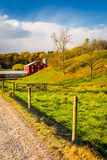 Red barn along country road in rural York County, Pennsylvania. Royalty Free Stock Photography