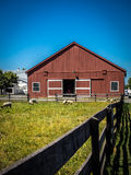 Red Barn with Blue Sky and Sheep Grazing Stock Image