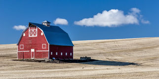 Red Barn Blue Sky Wheet fields Stock Photos