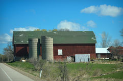Red Barn Broken Silo Royalty Free Stock Photography