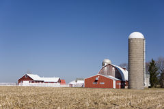 Red barn buildings stock images