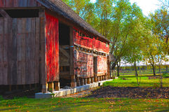 Red Barn Closeup. Closeup of old red barn with sidelighting Stock Images