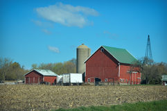 Red Barn Corn Field Royalty Free Stock Photo