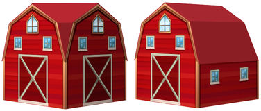 Red barn in 3D design. Illustration Royalty Free Stock Image