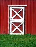 Red Barn door. Red and white barn door Royalty Free Stock Photography